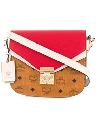 Mcm Colour Blocked Crossbody Bag Red