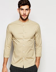 Asos Skinny Shirt In Stone With Grandad Collar And Long Sleeves Stone