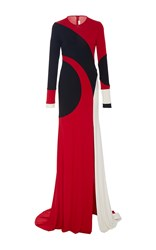 Naeem Khan Long Sleeve Swirl Front Slit Gown Red Black White