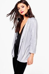 Boohoo Boutique Sequin Tailored Blazer Silver