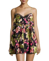 Lovers Friends Sleeveless Lace Trim Tropical Print Mini Dress Black Multicolor