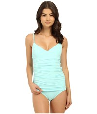 Vince Camuto Draped Swimdress W Removable Soft Cups And Adjustable Straps Aqua Shade Women's Swimsuits One Piece Blue