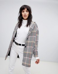 Stradivarius Check Car Coat Multi