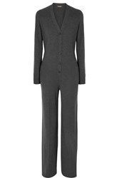 Loro Piana Leather Trimmed Cashmere Jumpsuit Gray