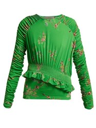 Preen By Thornton Bregazzi Toyin Floral Print Ruched Crepe Jersey Top Green Multi