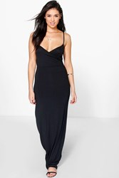 Boohoo Wrap Front Strappy Maxi Dress Black