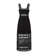Pinko Alaine Macrame Mesh Maxi Dress Female Black