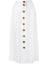 Sara Battaglia Pleated Button Skirt White