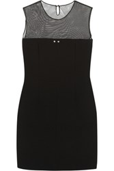 Marios Schwab Mesh And Wool Crepe Mini Dress Black