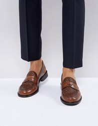 Farah Chalice Woven Penny Loafers Tan