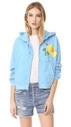 Wildfox Couture Lemonade Zip Up Hoodie Pool Blue