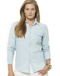 Lauren Ralph Lauren Plus Chambray Button Front Shirt