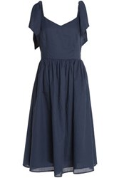Iris And Ink Gathered Cotton Voile Dress Navy