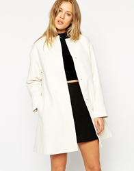 Asos Coat In Trapeze With Dipped Hem Cream