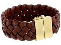 Cole Haan Braided Leather Bracelet Gold Chestnut Brown Bracelet