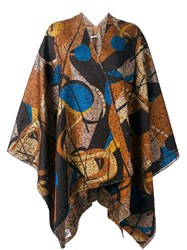 Ermanno Gallamini Geometric Print Woven Cape Brown