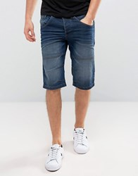 Solid Denim Shorts In Mid Wash Blue 9050