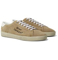 Saint Laurent Sl 06 Court Classic Leather Trimmed Embroidered Suede Sneakers Sand