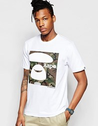 Aape By A Bathing Ape Green Camo Basic T Shirt White