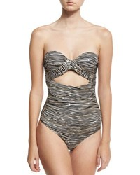 A. Che Hermosa Tallulah Cutout Maillot Swimsuit Black Gold