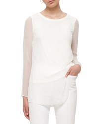 Akris Punto Sheer Sleeve Layered Top Cream