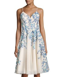 Nicole Miller New York Floral Embroidery A Line Dress Blue White