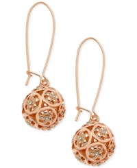 Guess Rose Gold Tone Crystal Ball Drop Earrings A Macy's Exclusive Style