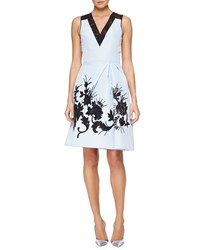 Carolina Herrera Floral Embroidered Faille Cocktail Dress Size 6 Light Blue