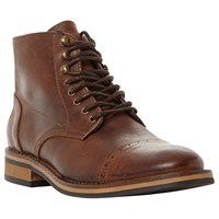 Bertie Charli Toecap Detail Lace Up Leather Boots Brown