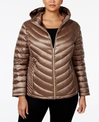 Calvin Klein Plus Size Packable Down Hooded Puffer Coat Only At Macy's Shine Taupe