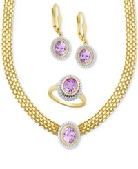 Macy's Amethyst Collar Necklace Drop Earrings And Ring Set 7 1 5 Ct. T.W. In 18K Gold Plated Sterling Silver