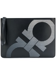 Salvatore Ferragamo Double Gancio Clutch Black