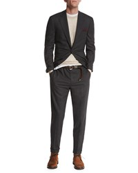 Brunello Cucinelli Textured Two Button Wool Blazer Charcoal Grey