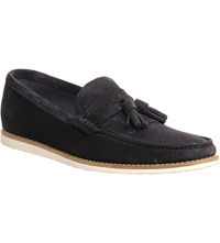 Ask The Missus Approval Wedge Suede Tassel Loafers Navy Suede