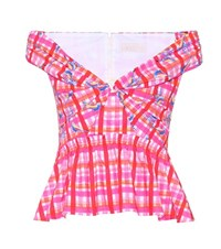 Peter Pilotto Off The Shoulder Cotton Top Pink