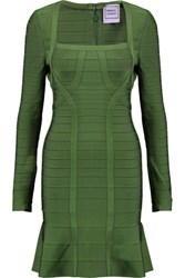 Herve Leger Bandage Mini Dress Forest Green