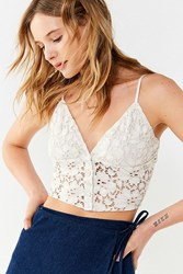 Urban Outfitters Uo Bright Star Lace Button Down Cami White