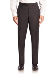 Saks Fifth Avenue Checked Wool Trousers Medium Grey