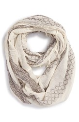 Junior Women's Bp. Pattern Knit Infinity Scarf Ivory Ivory Multi
