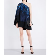 Roland Mouret Altman Floral Fil Coupa And Crepe Mini Dress Sapphire Black