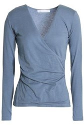 Kain Label Rose Wrap Effect Stretch Modal Jersey Top Light Blue