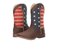 Roper American Patriot Brown Faux Leather Vamp Star Stripes Shaft Cowboy Boots