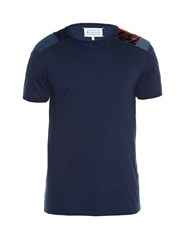 Maison Martin Margiela Patchwork Shoulder Crew Neck T Shirt Navy Multi