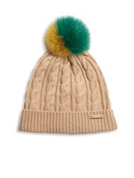 Burberry Knitted Wool And Cashmere Beanie Camel