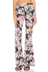 Lucca Couture Floral Bell Bottom Pant Black