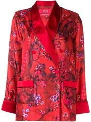 F.R.S For Restless Sleepers Blossom Print Satin Shirt Red