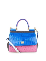 Dolce And Gabbana Sicily Crocodile And Ostrich Cross Body Bag