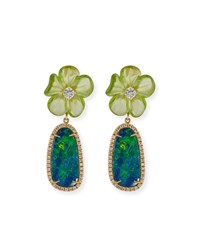 Rina Limor Floral Opal And Peridot Earrings With Diamonds