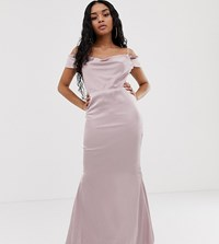 Missguided Petite Maxi Dress With Train In Blush Pink