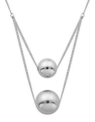 Lord And Taylor High Polished Layered Ball Necklace Silver